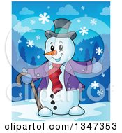Clipart Of A Cartoon Christmas Snowman Welcoming In The Snow Royalty Free Vector Illustration