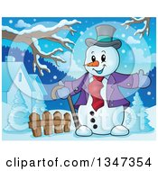 Clipart Of A Cartoon Christmas Snowman Welcoming In A Yard Royalty Free Vector Illustration