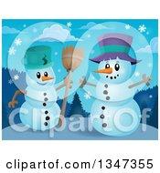Clipart Of Cartoon Christmas Snow Men Talking Royalty Free Vector Illustration