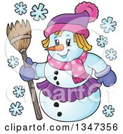 Clipart Of A Cartoon Christmas Snow Woman Holding A Broom Royalty Free Vector Illustration