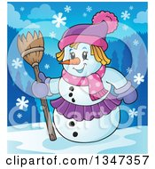 Clipart Of A Cartoon Christmas Snow Woman Holding A Broom In The Snow Royalty Free Vector Illustration