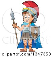 Clipart Of A Cartoon Happy Roman Soldier Holding A Spear And Shield Royalty Free Vector Illustration by visekart