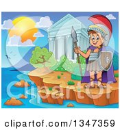 Clipart Of A Cartoon Happy Roman Soldier Holding A Spear And Shield By The Acropolis Of Athens On The Coast Royalty Free Vector Illustration by visekart