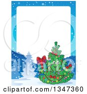 Clipart Of A Cartoon Christmas Tree Character Holding A Present In A Winter Landscape Border With White Text Space Royalty Free Vector Illustration