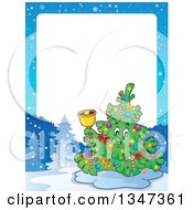 Clipart Of A Cartoon Christmas Tree Character Ringing A Bell In A Winter Landscape Border With White Text Space Royalty Free Vector Illustration