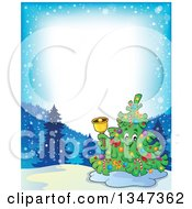 Clipart Of A Cartoon Christmas Tree Character Ringing A Bell In A Winter Landscape Border Royalty Free Vector Illustration