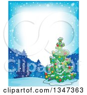 Clipart Of A Cartoon Decorated Christmas Tree In A Winter Landscape Border Royalty Free Vector Illustration