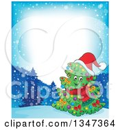 Clipart Of A Cartoon Decorated Christmas Tree Character Wearing A Scarf And Santa Hat In A Winter Landscape Border Royalty Free Vector Illustration