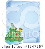 Cartoon Christmas Tree Character Ringing A Bell Over A Frozen Blank Parchment Scroll