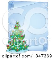 Cartoon Decorated Christmas Tree Over A Frozen Blank Parchment Scroll