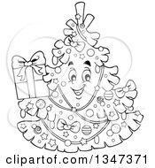Lineart Clipart Of A Cartoon Black And White Christmas Tree Character Holding A Present Royalty Free Outline Vector Illustration