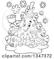 Outline Clipart Of A Cartoon Black And White Christmas Tree Character Ringing A Bell Royalty Free Lineart Vector Illustration
