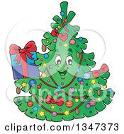 Clipart Of A Cartoon Christmas Tree Character Holding A Present Royalty Free Vector Illustration