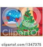 Clipart Of A Cartoon Christmas Tree Character Holding A Present By A Window Indoors Royalty Free Vector Illustration