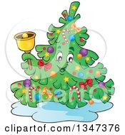Clipart Of A Cartoon Christmas Tree Character Ringing A Bell Royalty Free Vector Illustration