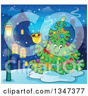 Clipart Of A Cartoon Christmas Tree Character Ringing A Bell Outdoors In A Town Royalty Free Vector Illustration