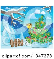 Clipart Of A Cartoon Christmas Tree Character Ringing A Bell In A Yard Royalty Free Vector Illustration