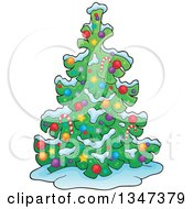 Cartoon Christmas Tree In The Snow