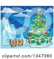 Clipart Of A Cartoon Decorated Christmas Tree In A Yard Royalty Free Vector Illustration