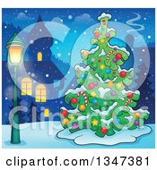 Clipart Of A Cartoon Decorated Christmas Tree In A Village At Night Royalty Free Vector Illustration