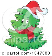 Clipart Of A Cartoon Christmas Tree Character Wearing A Scarf And Santa Hat Royalty Free Vector Illustration