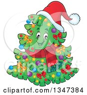 Clipart Of A Cartoon Decorated Christmas Tree Character Wearing A Scarf And Santa Hat Royalty Free Vector Illustration