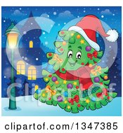 Clipart Of A Cartoon Decorated Christmas Tree Character Wearing A Scarf And Santa Hat Outdoors In A Village Royalty Free Vector Illustration