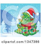 Clipart Of A Cartoon Decorated Christmas Tree Character Wearing A Scarf And Santa Hat In A Winter Landscape Royalty Free Vector Illustration