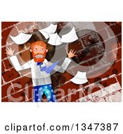 Clipart Of A Stressed Caucasian Business Man Throwing Papers Over A Grungy Brick Wall Royalty Free Illustration