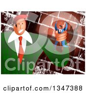 Clipart Of A Caucasian Business Boss Man Holding A Tiny Employee In His Hand Over A Brick Wall Royalty Free Illustration