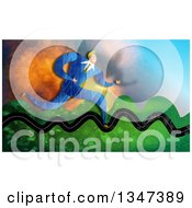 Clipart Of A Caucasian Business Man Running On A Bumpy Road Royalty Free Illustration