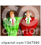 Clipart Of Caucasian Business Partner Men Embracing Over Brown Grunge Royalty Free Illustration