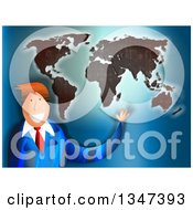 Clipart Of A Textured Red Haired Caucasian Business Man Presenting A World Map Royalty Free Illustration