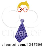 Clipart Of A Funny Fella Business Man With Blond Hair Glasses And A Purple Polka Dot Tie Royalty Free Vector Illustration