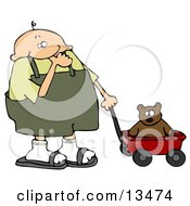 Little Boy In Overalls Sucking His Thumb And Pulling His Teddy Bear In A Red Wagon Clipart Illustration by djart