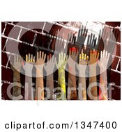 Clipart Of Textured Hands Raised Over A Grungy Brick Wall Royalty Free Illustration