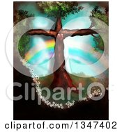 Clipart Of A Tree In The Shape Of A Christian Cross With A Heart And Rainbow Royalty Free Illustration
