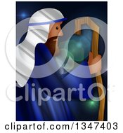 Clipart Of A Textured Jesus As The Good Shepherd Over Flares Royalty Free Illustration