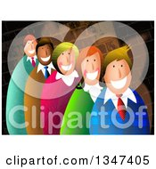 Clipart Of Textured Business Men And Women Smiling Over A Brick Wall Royalty Free Illustration