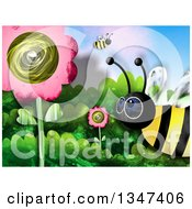 Clipart Of Textured Bees In A Garden With Pink Flowers Royalty Free Illustration
