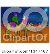 Clipart Of Textured Wise Men Pointing Up At The Star Of David In A Desert Royalty Free Illustration by Prawny