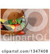 Clipart Of A Textured Double Cheeseburger Dripping Ketchup Over Grunge Royalty Free Illustration by Prawny