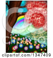 Clipart Of A Heart Tree Over Happy Flowers Hills And A Rainbow Royalty Free Illustration by Prawny