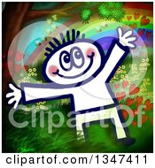 Clipart Of A Happy Sketched Person Over A Painting Of A Tree Bees Hearts Rainbow And Flowers Royalty Free Illustration