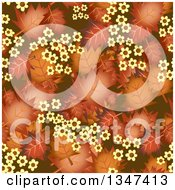 Clipart Of A Seamless Background Of Autumn Leaves And Yellow Flowers Royalty Free Illustration by Prawny