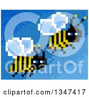 Clipart Of Pixelated Flying Bees On Blue Royalty Free Illustration by Prawny