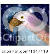 Textured Bald Eagle Head Over Blue With Stars