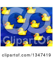 Clipart Of A Background Of Wet Yellow Rubber Duckies Over Blue Waves Royalty Free Illustration