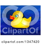 Clipart Of A Wet Yellow Rubber Ducky And Shadow Over Blue Waves Royalty Free Illustration