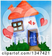 Clipart Of A Painted Brick House Of Love Royalty Free Illustration